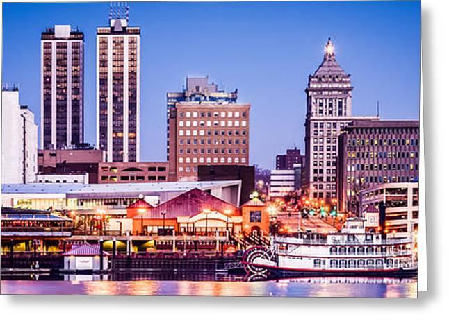Peoria Greeting Cards - Peoria Skyline at Night Panoramic Picture Greeting Card by Paul Velgos