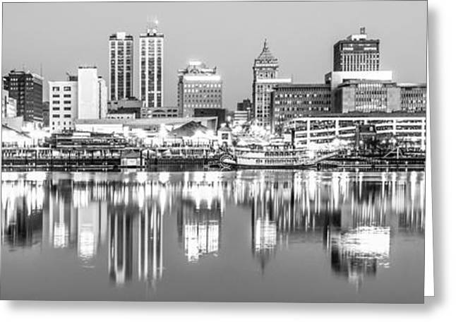 Art Of Building Greeting Cards - Peoria Skyline Panorama Black and White Photo Greeting Card by Paul Velgos