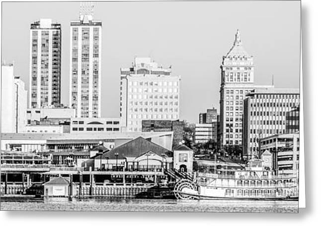 Riverboats Greeting Cards - Peoria Skyline Panorama Black and White Picture Greeting Card by Paul Velgos