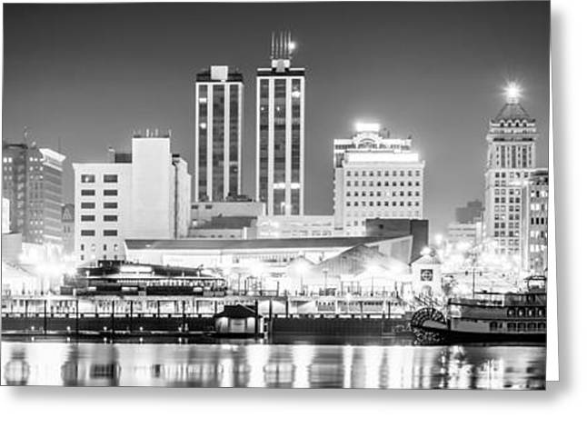 Riverboats Greeting Cards - Peoria Skyline Panoramic Black and White Picture Greeting Card by Paul Velgos