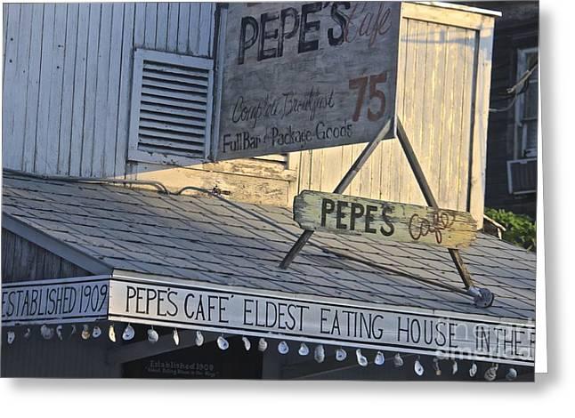 Photorealism Greeting Cards - Pepes Key West Florida Greeting Card by Deborah Talbot - Kostisin