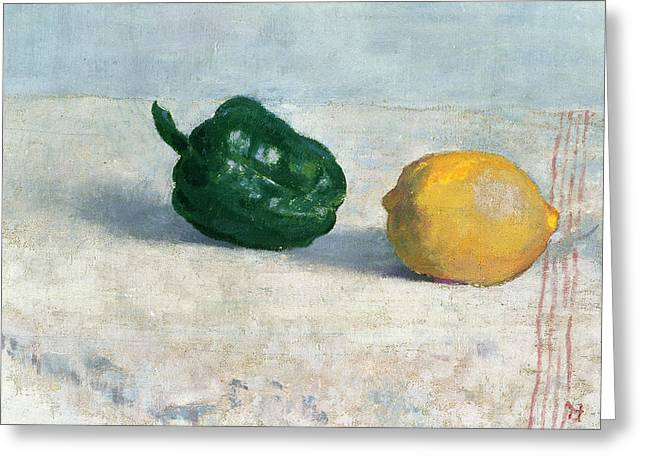 Initial Greeting Cards - Pepper and Lemon on a White Tablecloth Greeting Card by Odilon Redon