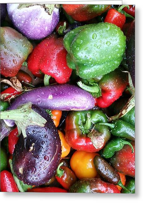 Unprepared Greeting Cards - Pepper Eggplant Mix Greeting Card by Mark Victors