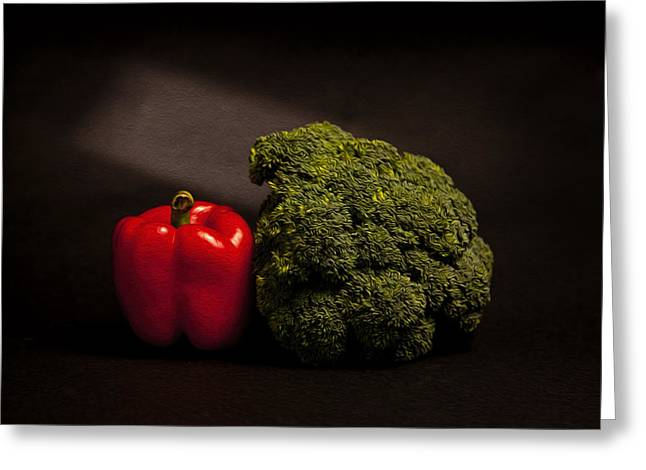 Broccoli Photographs Greeting Cards - Pepper nd Brocoli Greeting Card by Peter Tellone