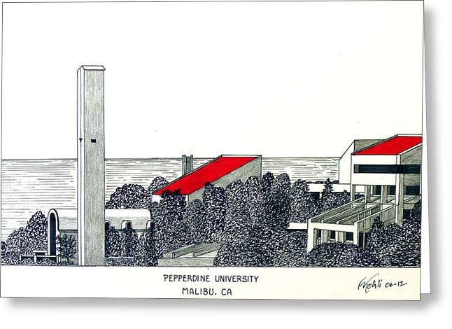 College Campus Drawings Greeting Cards - Pepperdine University Greeting Card by Frederic Kohli