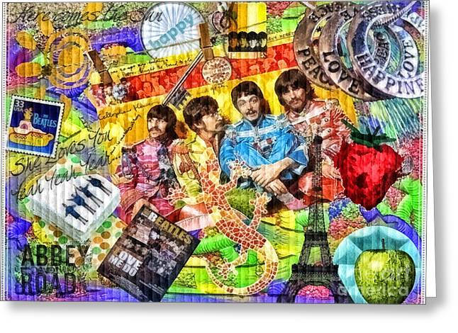 Lennon Mixed Media Greeting Cards - Pepperland Greeting Card by Mo T
