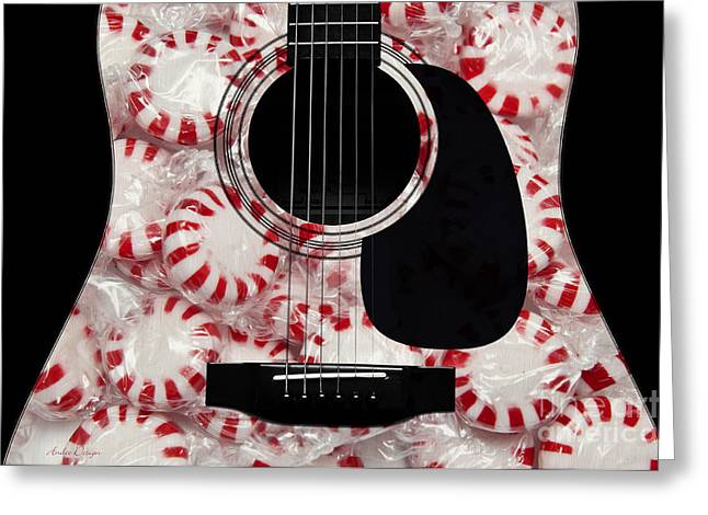 Peppermint Greeting Cards - Peppermint Abstract Guitar Greeting Card by Andee Design