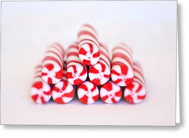 Spearmint Greeting Cards - Peppermint Twist - Candy Canes Greeting Card by Kim Hojnacki