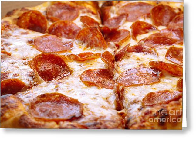 Mozzarella Greeting Cards - Pepperoni Pizza 1 - Pizzeria - Pizza Shoppe Greeting Card by Andee Design