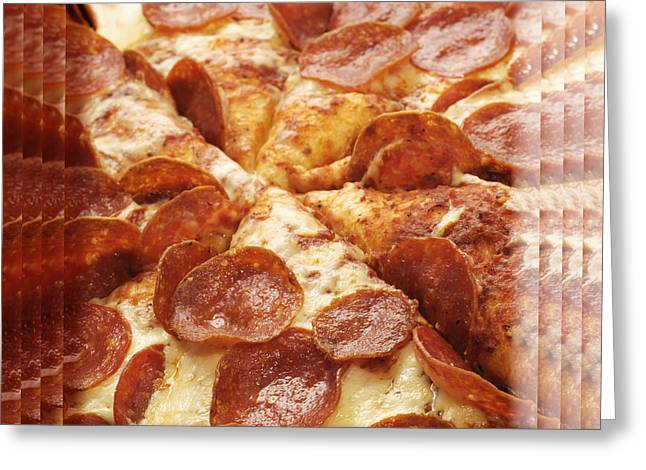 Design And Photography. Greeting Cards - Pepperoni Pizza 25 Pyramid Greeting Card by Andee Design