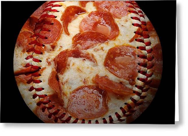 Pepperoni Pizza Baseball Square Greeting Card by Andee Design