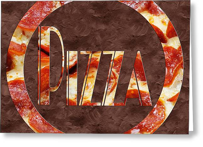 Italian Kitchen Greeting Cards - Pepperoni Pizza Typography 1 Greeting Card by Andee Design