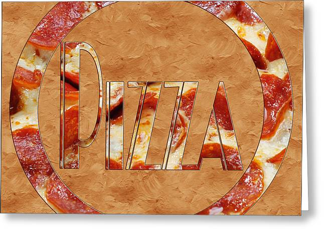 Italian Restaurant Greeting Cards - Pepperoni Pizza Typography 3 Greeting Card by Andee Design