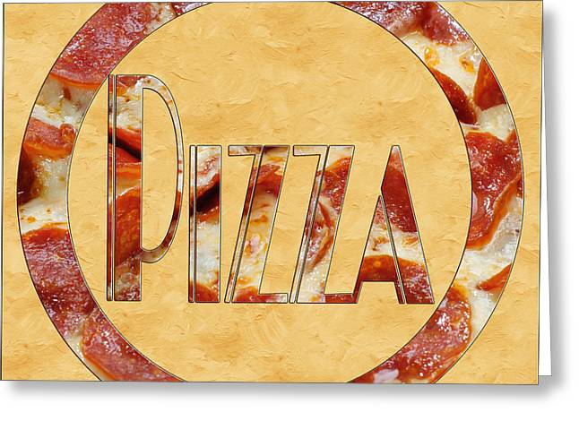 Italian Kitchen Greeting Cards - Pepperoni Pizza Typography 4 Greeting Card by Andee Design