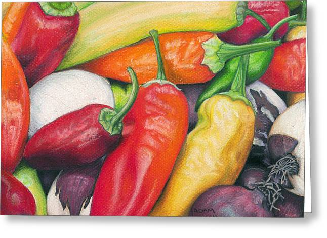 Banana Pastels Greeting Cards - Peppers and Onions Greeting Card by Adam Johnson