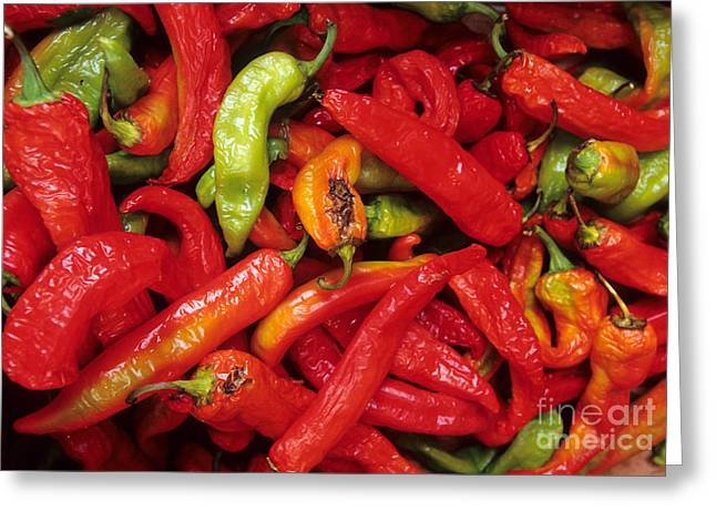 Hot Peppers Greeting Cards - Peppers At Street Market Greeting Card by William H. Mullins