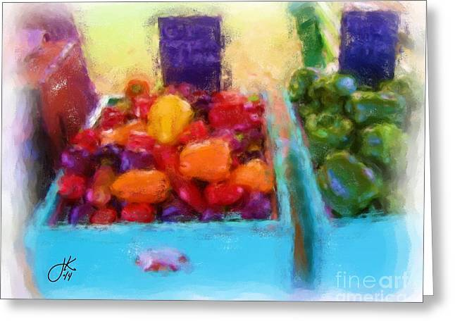 Fresh Green Pastels Greeting Cards - Peppers  Greeting Card by Julie Knapp
