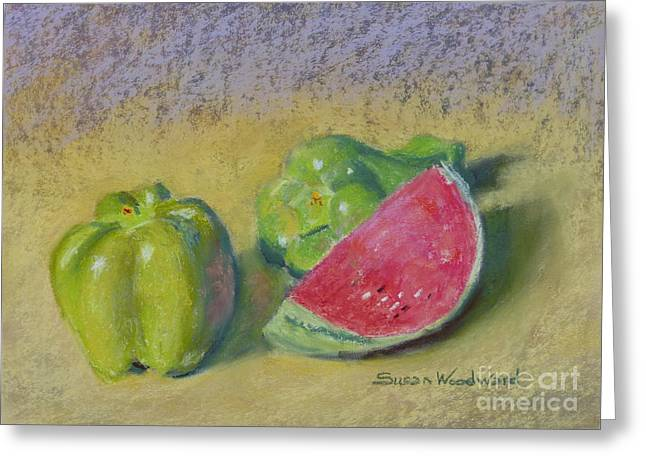 Still Life With Watermelon. Greeting Cards - Peppers with Melon Greeting Card by Susan Woodward