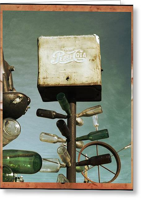 Pepsi Bottle Tree - Route 66 Greeting Card by Glenn McCarthy Art and Photography
