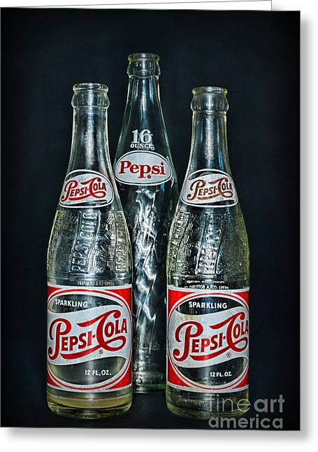 Label Greeting Cards - Pepsi Bottles from the 1950s Greeting Card by Paul Ward