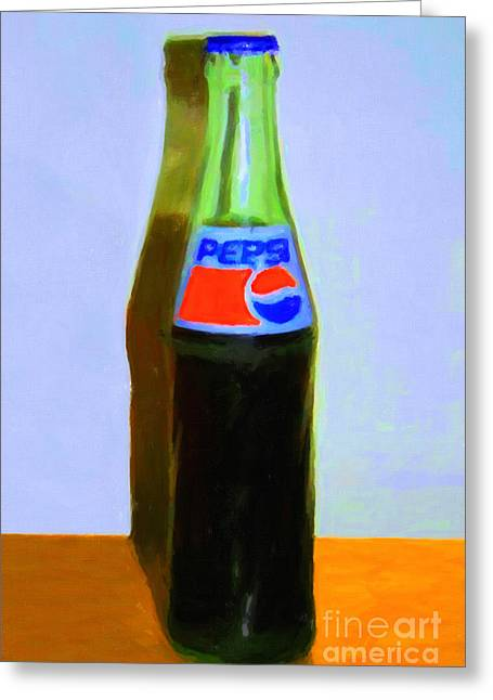 Pepsi Cola Bottle Greeting Card by Wingsdomain Art and Photography