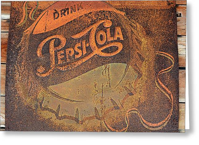 Pepsi Cola Greeting Cards - Pepsi Cola rust Greeting Card by David Lee Thompson