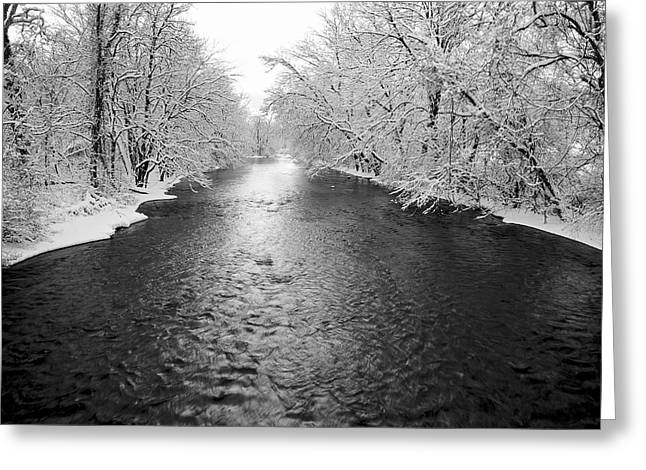 Chiara Greeting Cards - Pequest River In Snow Greeting Card by Rocco Chiara