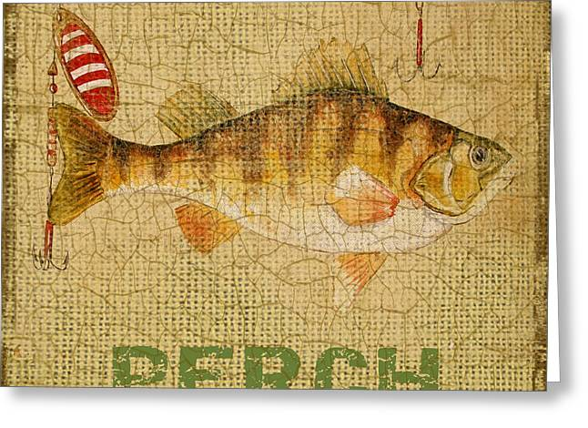Gill Netter Greeting Cards - Perch on Burlap Greeting Card by Jean Plout