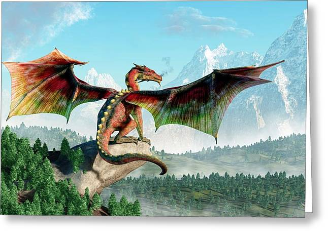 Warcraft Greeting Cards - Perched Dragon Greeting Card by Daniel Eskridge