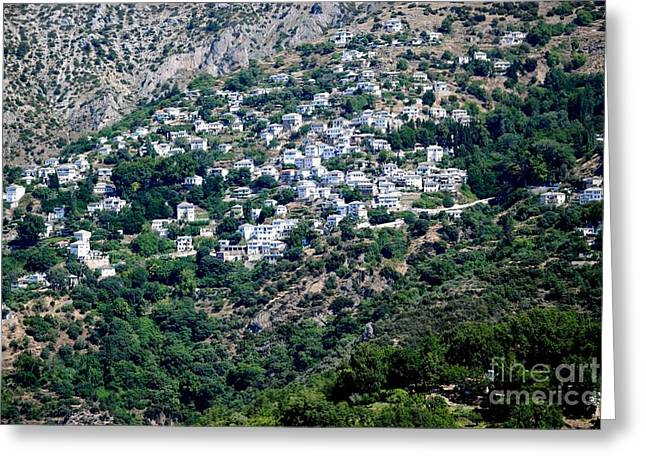 Pelion Greeting Cards - Perched Village Greeting Card by Andrea Simon