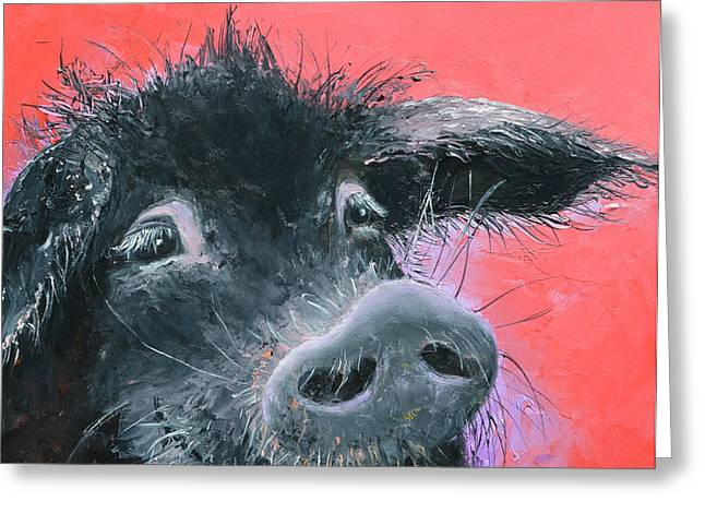Black Pig Greeting Cards - Percival the Black Pig Greeting Card by Jan Matson