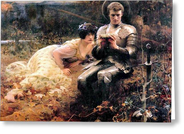 Grail Greeting Cards - Percival With The Grail Greeting Card by Arthur Hacker