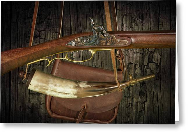 Randy Greeting Cards - Percussion Cap and Ball Rifle with Powder Horn and Possibles Bag Greeting Card by Randall Nyhof
