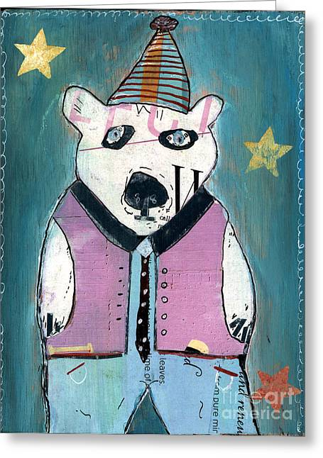 Pod Mixed Media Greeting Cards - Percy Bear Greeting Card by Bri Buckley