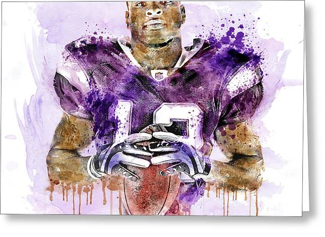 African American Digital Art Greeting Cards - Percy Harvin watercolor Greeting Card by Marian Voicu