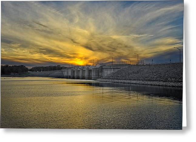 Reflection In Water Greeting Cards - Percy Priest Dam at Sunset Greeting Card by Steven  Michael