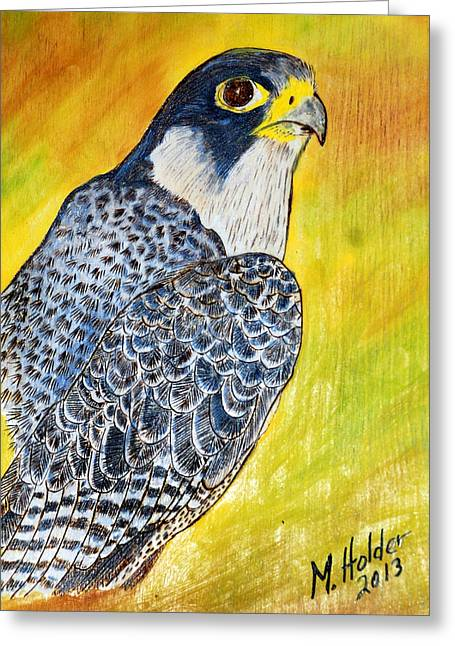 Hunting Bird Pyrography Greeting Cards - Peregrine Falcon  Greeting Card by Mike Holder