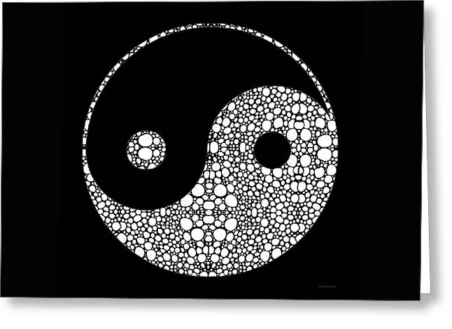 Perfect Balance 2 - Yin And Yang Stone Rock'd Art By Sharon Cummings Greeting Card by Sharon Cummings