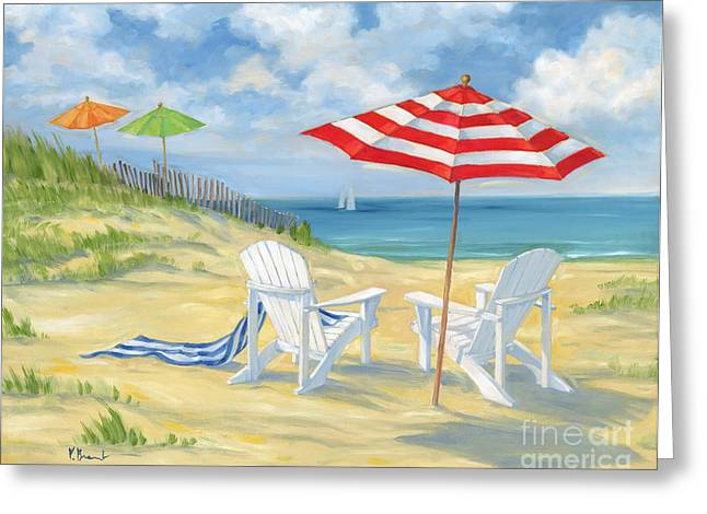 Ocean Shore Paintings Greeting Cards - Perfect Beach Greeting Card by Paul Brent