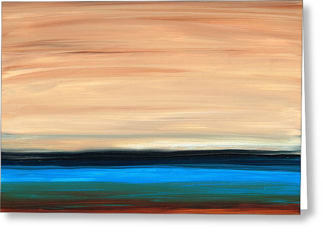 Perfect Calm - Abstract Earth Tone Landscape Blue Greeting Card by Sharon Cummings