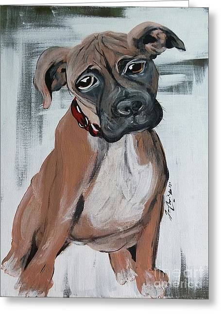 Boxer Abstract Art Greeting Cards - Diesel Greeting Card by Jennifer Russell