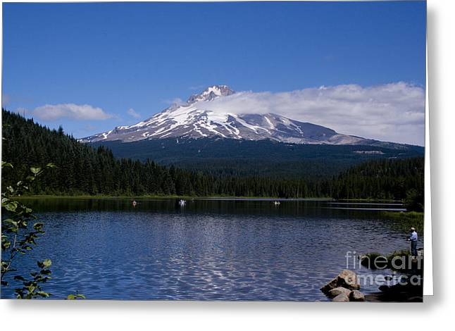 Snow Capped Greeting Cards - Perfect Day at Trillium Lake Greeting Card by Ian Donley