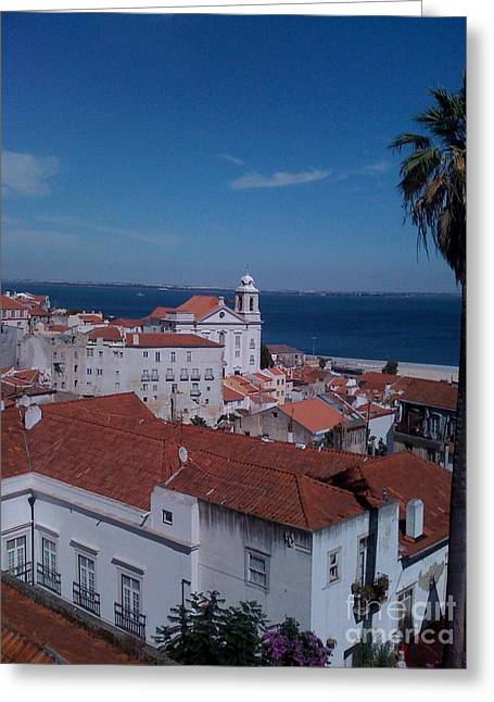 Ocean Vista Pyrography Greeting Cards - Perfect day in Lisbon Portugal Greeting Card by Sherri Durrell