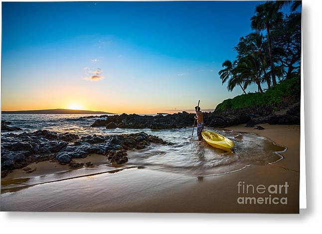 Peaceful Water Greeting Cards - Perfect Ending - beautiful and secluded Secret Beach in Maui Greeting Card by Jamie Pham