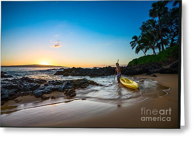 Perfect Ending - Beautiful And Secluded Secret Beach In Maui Greeting Card by Jamie Pham