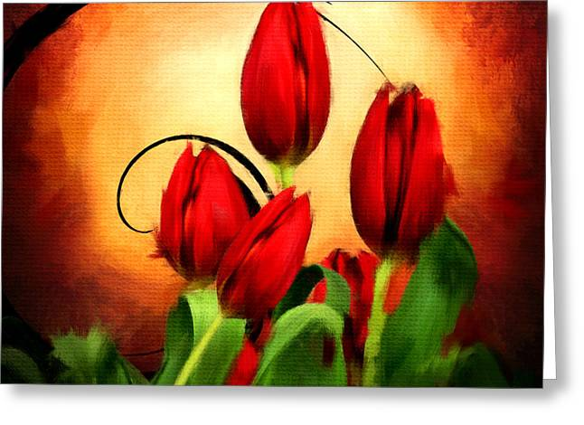 Turquoise And Red Greeting Cards - Perfect Gift Of Love- Red Tulips Paintings Greeting Card by Lourry Legarde