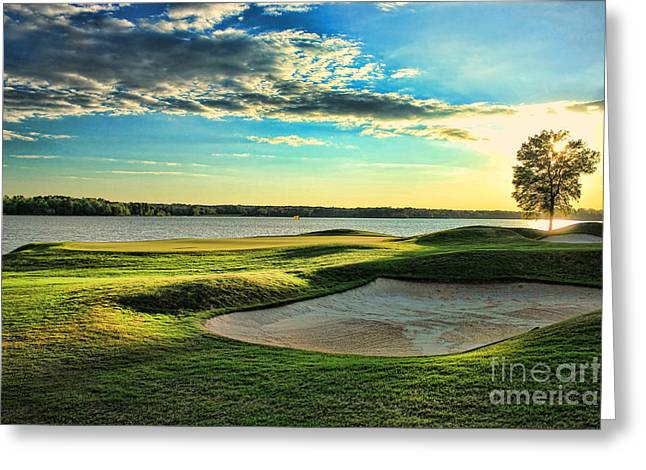 Golf Hole Greeting Cards - Perfect Golf Sunset Greeting Card by Reid Callaway