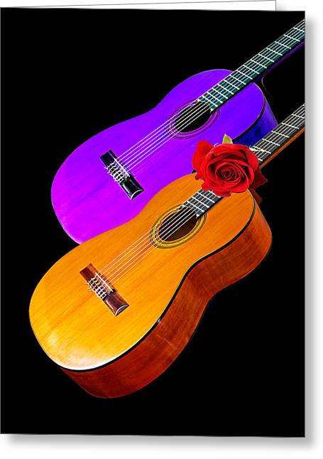 Country And Western Greeting Cards - Perfect Harmony - Acoustic Guitars Greeting Card by Gill Billington