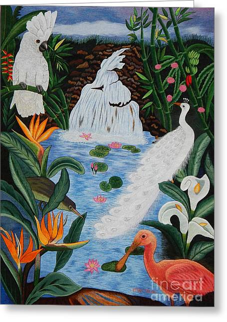 White Tapestries - Textiles Greeting Cards - Perfect Paradise hand embroidery Greeting Card by To-Tam Gerwe