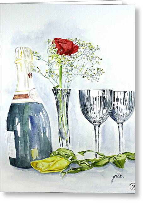 Wine Paring Paintings Greeting Cards - Perfect Paring Greeting Card by Parker JC